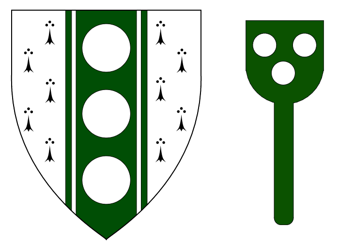 Ermine, on a pale endorsed vert,three roundels argent & Fieldless, on a baker's peel vert three plates